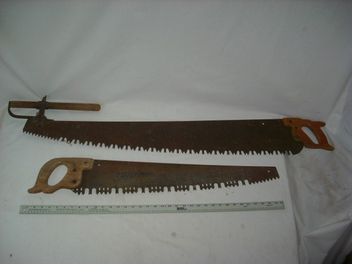 2 Vintage 1 2 Man Disston Cross Cut Saw Antique Tool