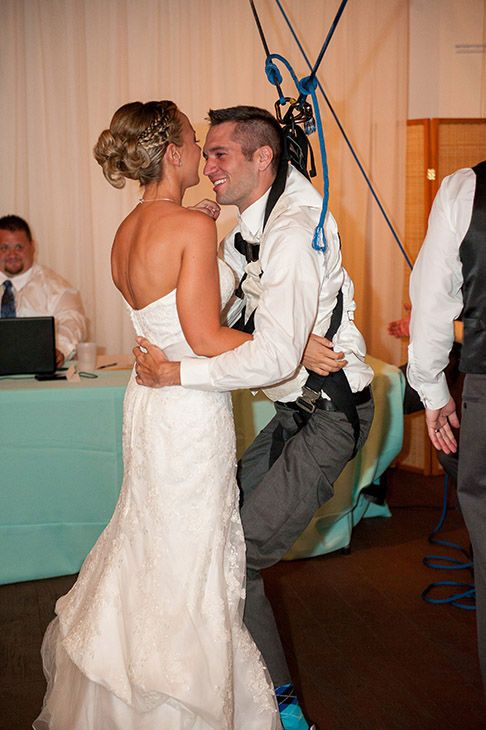 Beautiful story <3 Husband that is confined to a wheelchair creates a system with the help of his friends that allows him to stand at his wedding reception.