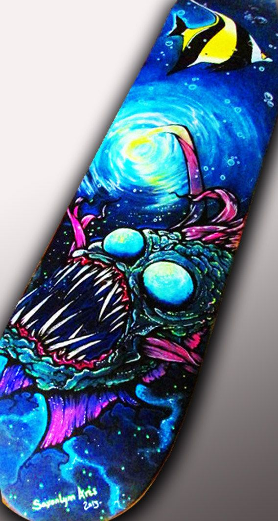 Custom Skateboard Art Angler Fish Painting Original by SAXONLYNN