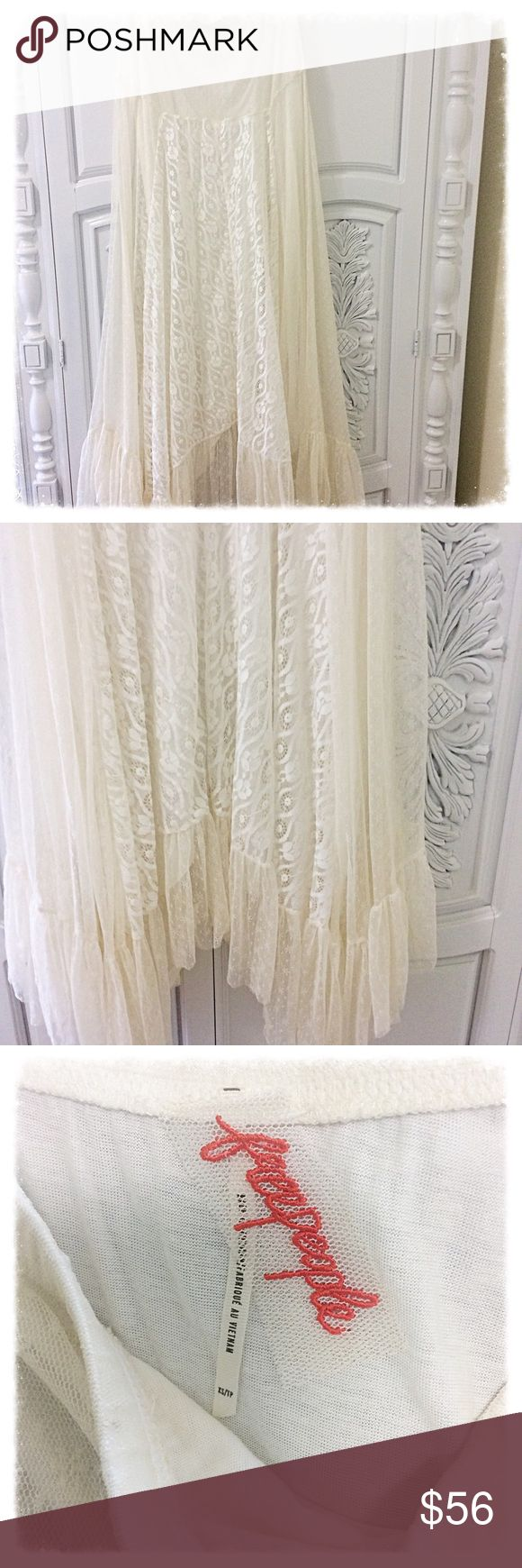Free People Lace maxi skirt Ivory lace Free People maxi skirt with lining underneath. Elastic waist and very flows so can definitely fit a SMALL as well! looks absolutely beautiful as a dress as well! (Shown as dress in last pic) Free People Skirts Maxi