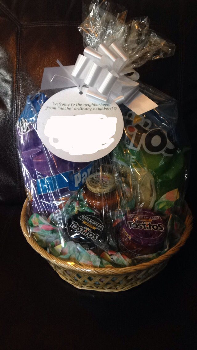 "Winter Survival Kit >> Welcome to the neighborhood nacho basket! The tag says ""welcome to the neighborhood from 'nacho ..."