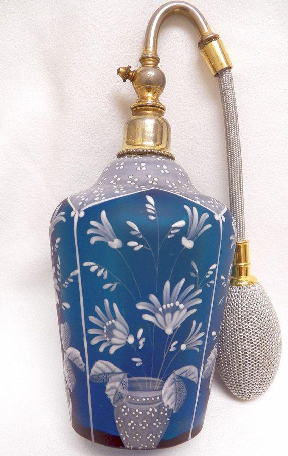Atomizador del perfume cristal satinado Teal con esmalte