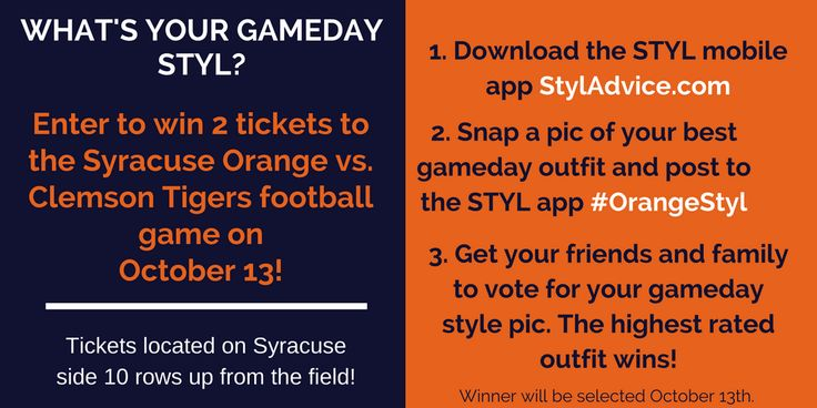 Win Two (2) tickets ($179 value) to the Clemson vs. Syracuse game 10/13! Contest ends 10/13. More Contests: ContestsHunter.blogspot.com
