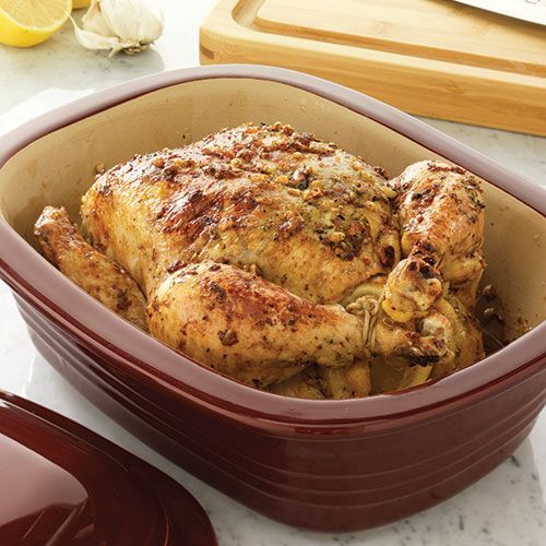Easy Oven-Roasted Chicken in the deep covered baker - bake 80-90 minutes