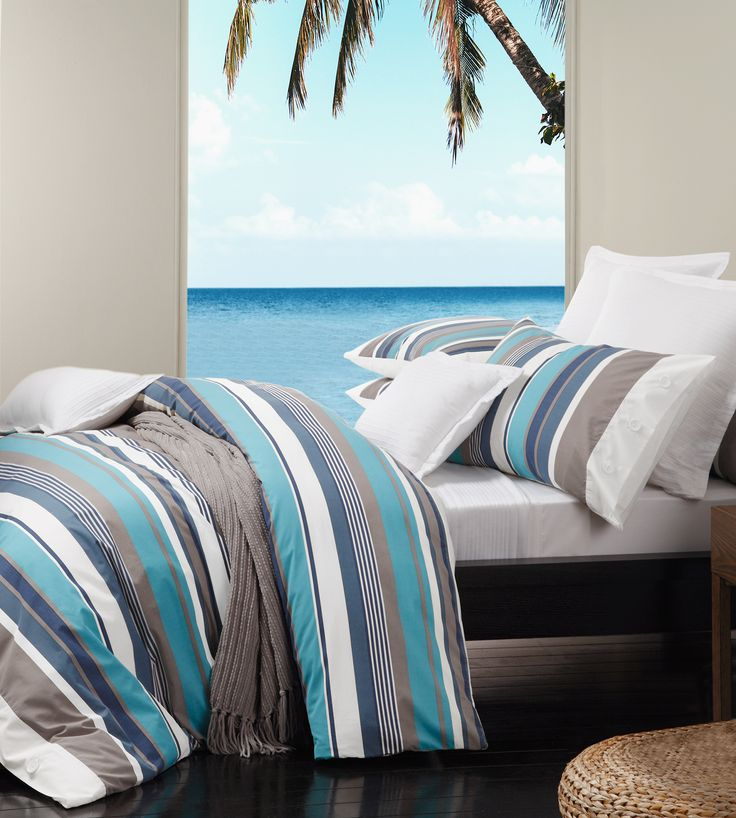 Trent Lagoon by Logan & Mason. Available in single, double, queen and king quilt cover sets