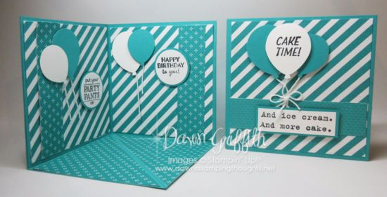 Hi Stampers, Today we are making this adorable corner pop up card .  So stinking cute Birthday card with all the balloons. The greetings are from the  Sale-a-Bration Party Pants stamp set  (w)# 141324