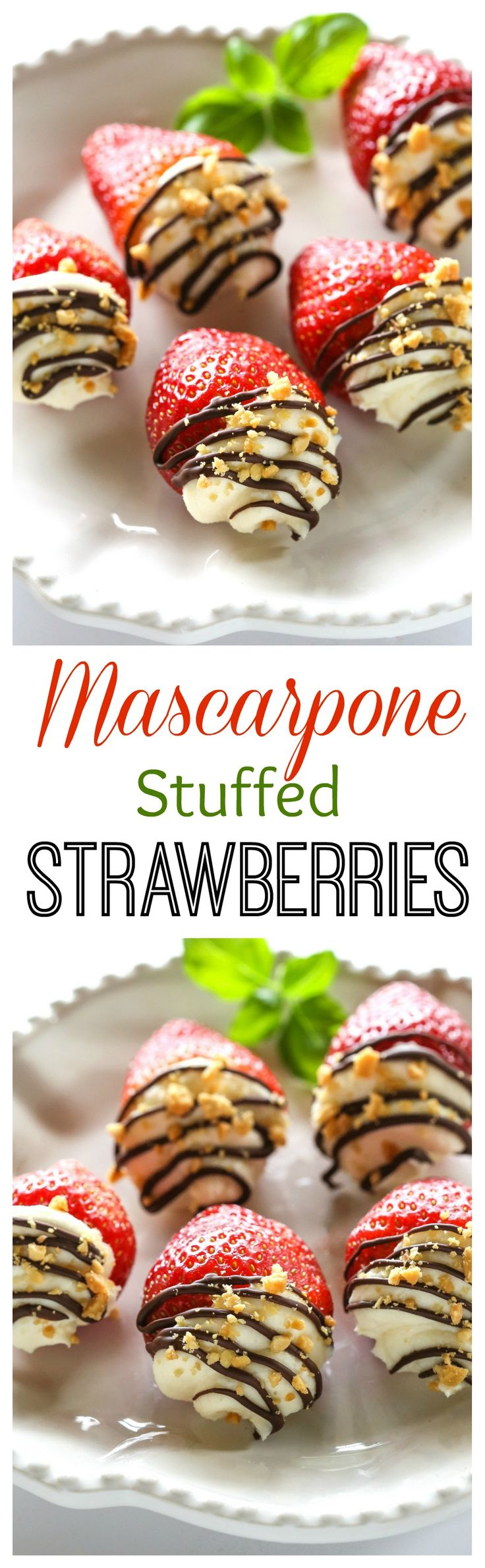 Mascarpone Stuffed Strawberrries. Sweet and silky mascarpone filled strawberries drizzled with chocolate and nuts. 59 calories for each! the-girl-who-ate-everything.com