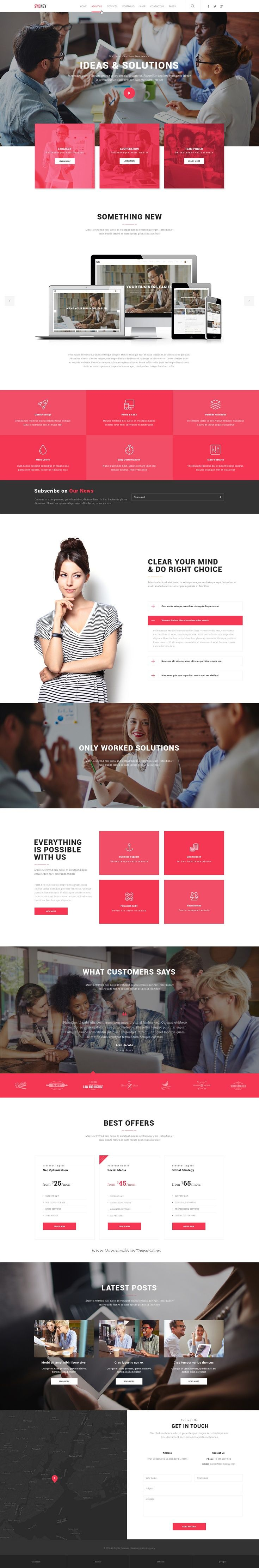 Sydney is a clean, flat, pixel perfect and modern PSD template suitable for any type of Marketing Website. It's designed according to the latest trends.
