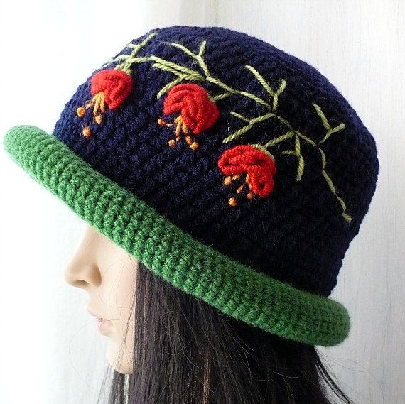 Cloche Hat/Embroidered Cloche/Handmade by GoldenAniel on Etsy