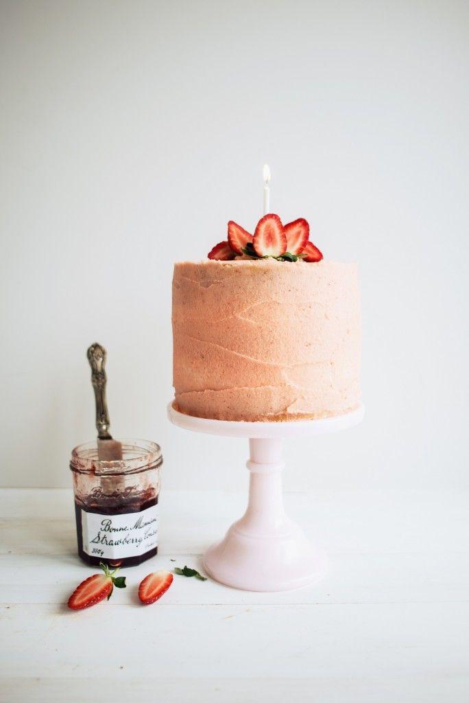 Strawberry Jam and Vanilla Birthday Cake | butter and brioche