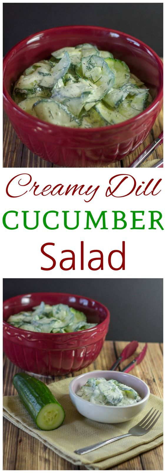 Here's a creamy low carb dill cucumber salad made with a sour cream and vine...
