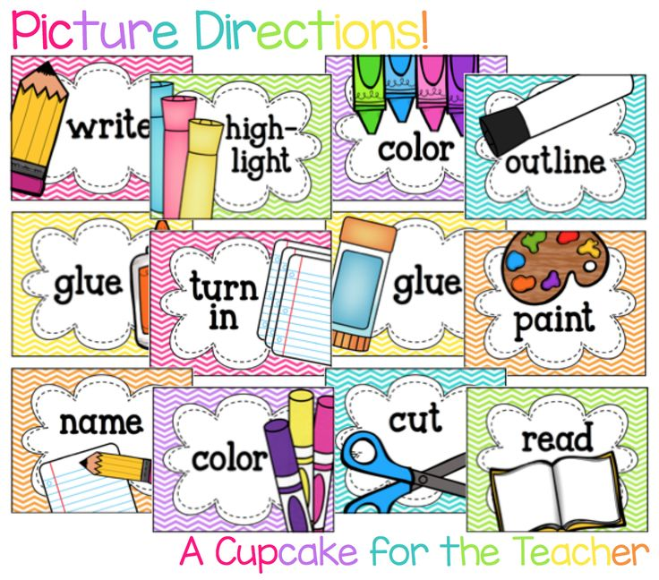 Picture Directions.These will be excellent and hopefully cut down on the number of questions after I give them an assignment.
