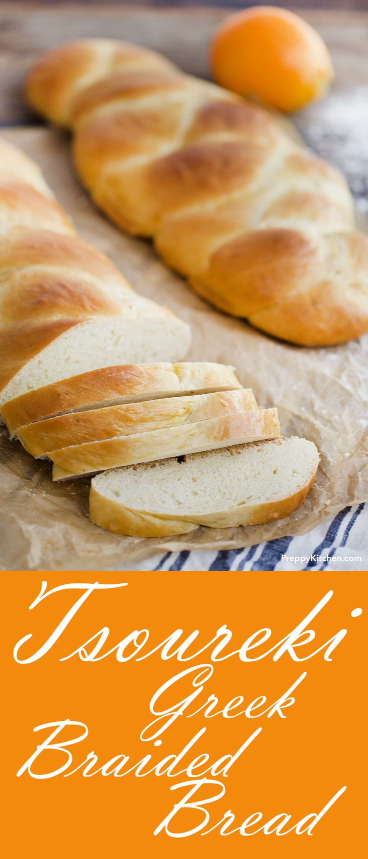 Traditional Greek Easter bread recipe with hints of orange zest!