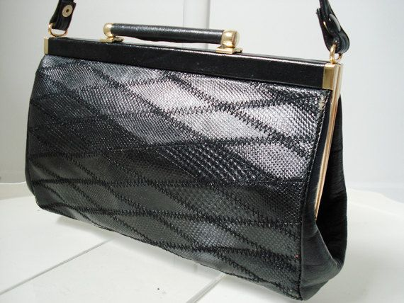 Vintage SUZY SMITH, sac de sac à main/embrayage en cuir noir, doré fidings, rayé, poches