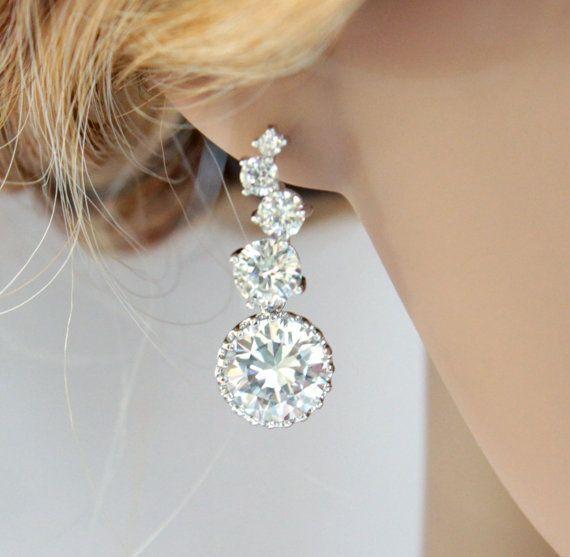 Cubic Zirconia Earrings, Silver earrings, gifts for her, white weddings, Bridal Earrings, Bridesmaid earrings, Crystal jewelry, www.glitzandlove.com