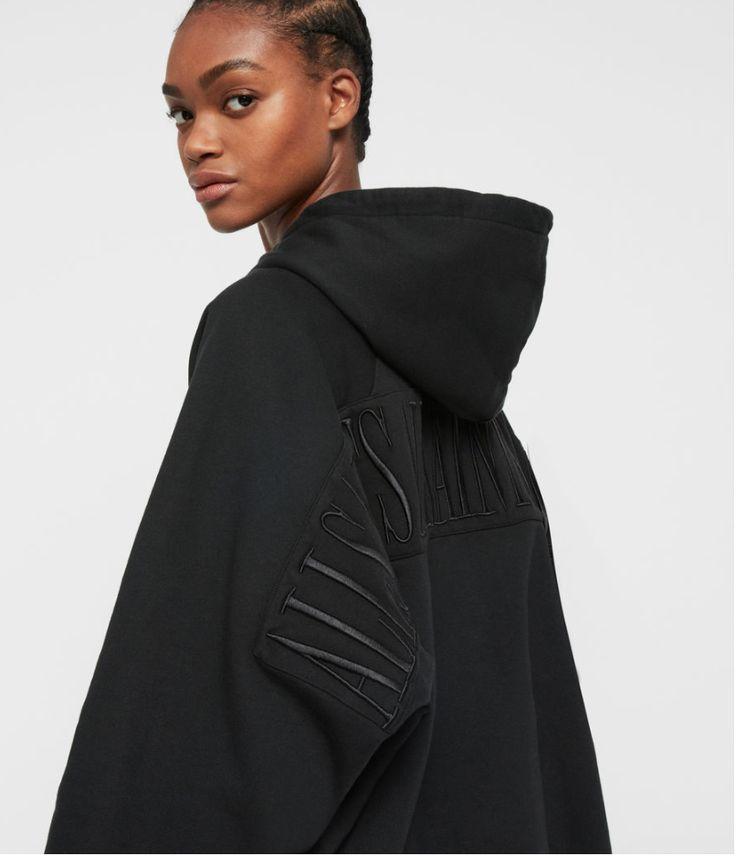 Allsaints talon hoodie black designer streetwear hoodie