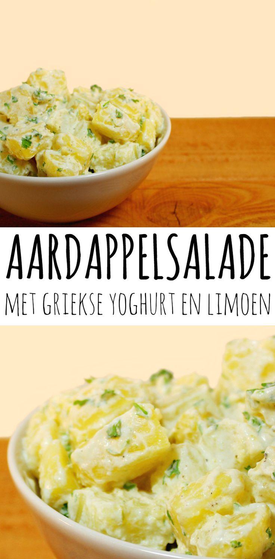 Aardappelsalade met Griekse yoghurt en limoen. Deze aardappelsalade is simpel en supersnel klaar. Lekker ook als fris bijgerechtje bij de bbq! :D