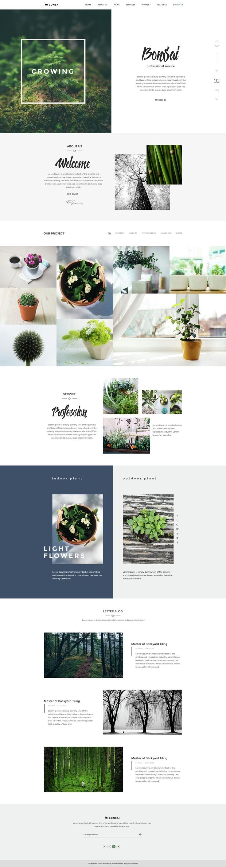 Bonsai - PSD Template for Landscapers & Gardeners Website #flowershop #webdesign #psdtemplate