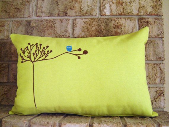 living room rustic owl in tree pillow cover lime green cushion by diningout 11160