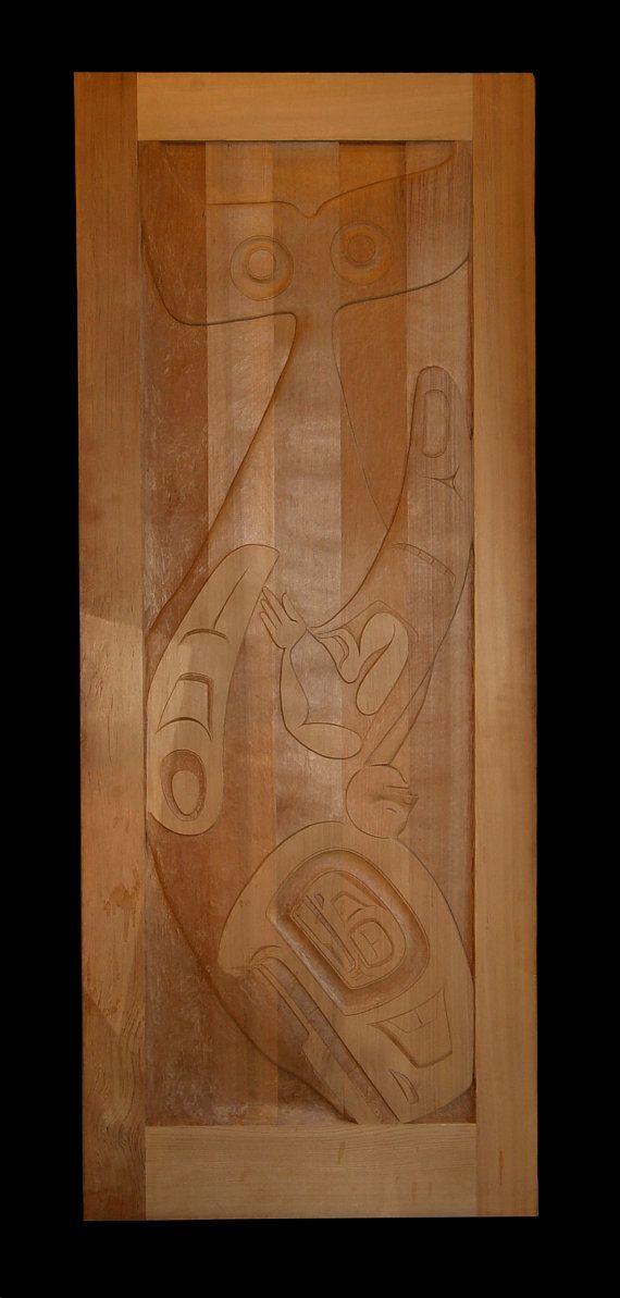 Vintage Indiaanse deur of deelvenster Cedar door SpyhopCreations
