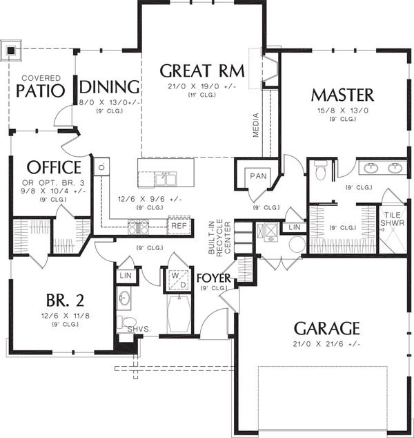 Craftsman style house plan 3 beds 2 baths 1641 sq ft for 16 x 48 house plans