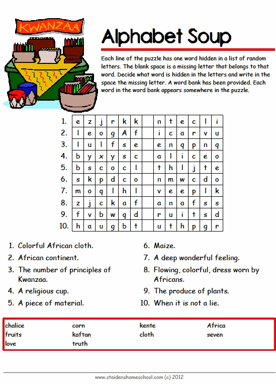 Free Kwanzaa Vocabulary Worksheets For Grades 4 7