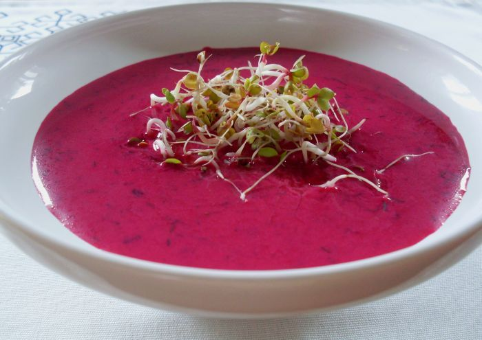 Great for the upcoming hot weather ... soup with roasted beets