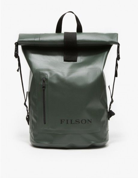 From Filson, a versatile, waterproof backpack with an ergonomically shaped design in green. Features a roll top with velcro closure, adjustable side buckle straps, adjustable padded shoulder straps with nylon loops, front zipper pocket with logo and an ov