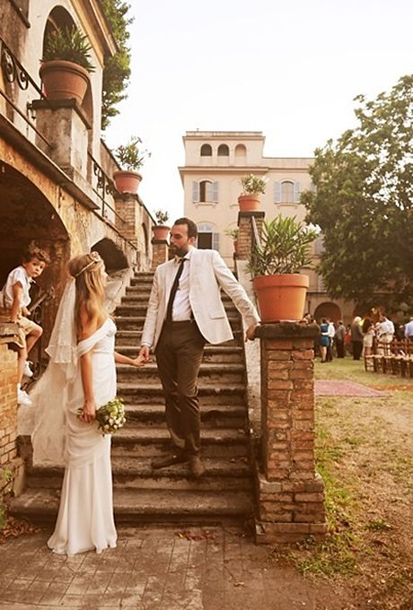 Brides: A Relaxed Summer Wedding in Rome, Italy  Rustic Weddings   Real Weddings   Brides.com