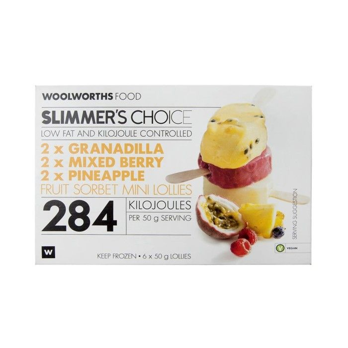Slimmer's Choice Mini Fruit Sorbet Lollies 6x50g