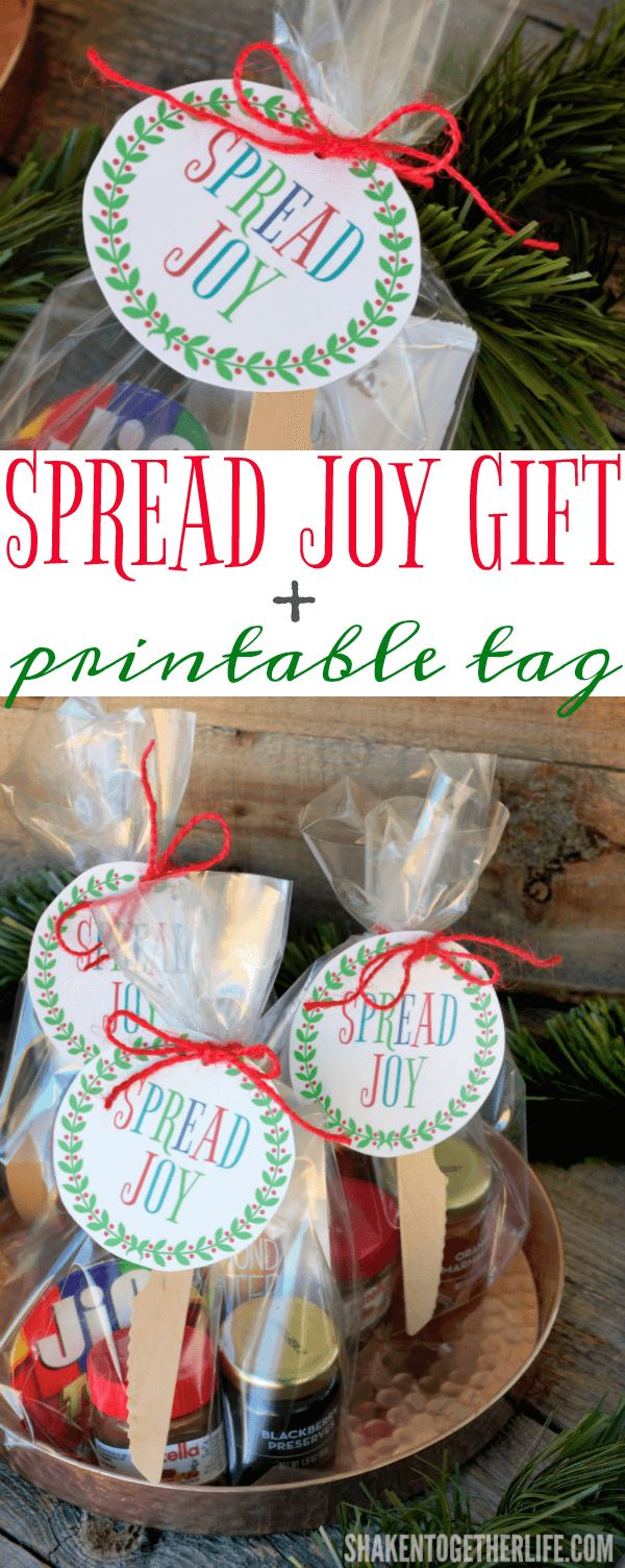 Spread holiday cheer with this Spread Joy Holiday Gift idea! Gather your favorite spreadable jams, jellies, butters, spreads and honey and add a printable gift tag for an easy, affordable holiday gift that is perfect for friends, neighbors and teachers!
