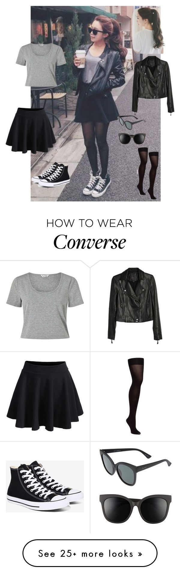 """Untitled #92"" by lalittaaristha on Polyvore featuring Hunter, Miss Selfridge, WithChic, Paige Denim, Converse, Quay and pinkage"