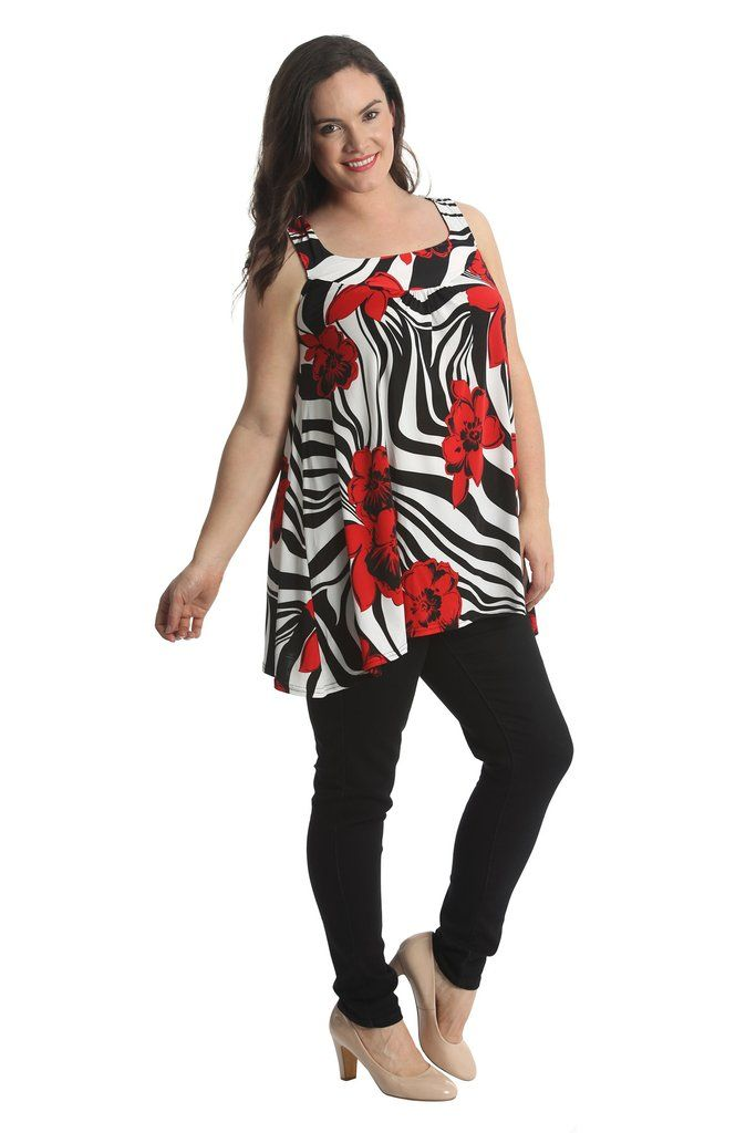 Lovely Loose Floral Print Plus Size Tunic Top - Red