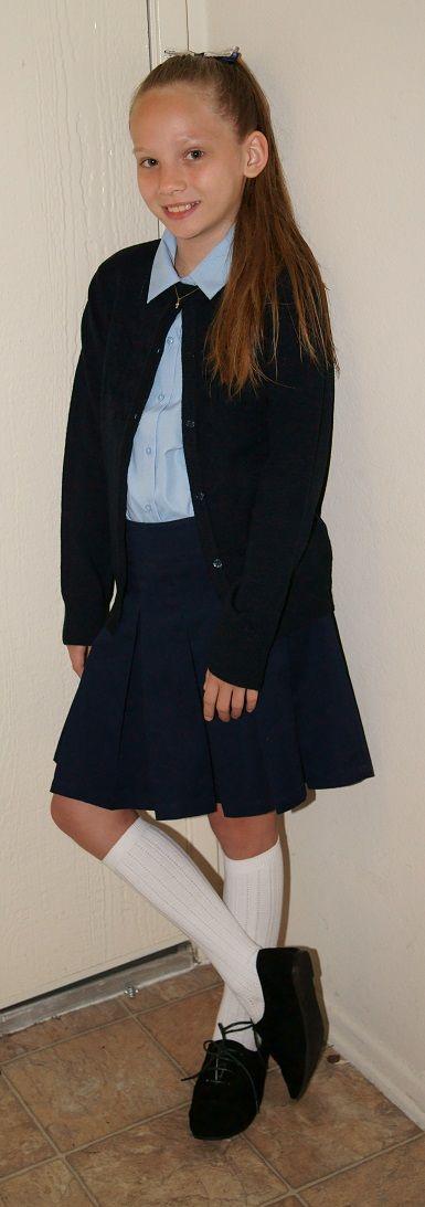 School Uniform. blouse- french toast. skirt- Cherokee. cardigan- Champs. socks- joe boxer. shoes- wells