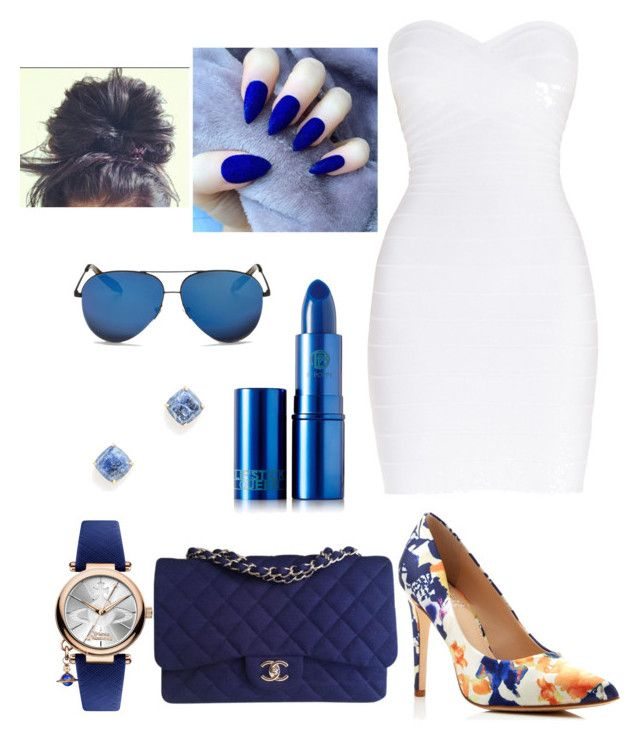 """Untitled #12"" by queenquanna1108 on Polyvore featuring Hervé Léger, Vince Camuto, Chanel, Lipstick Queen, Vivienne Westwood and Victoria Beckham"