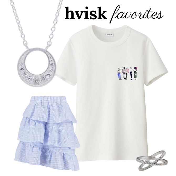 Hvisk favorites by Johanneappel #hvisk #hviskstylist #hviskjewellery #jewellery #jewelry #fashion #outfit #skirt #ring #necklace #silver #tshirt #favorites #inspiration #johanneappel #girl #girls #girlpower