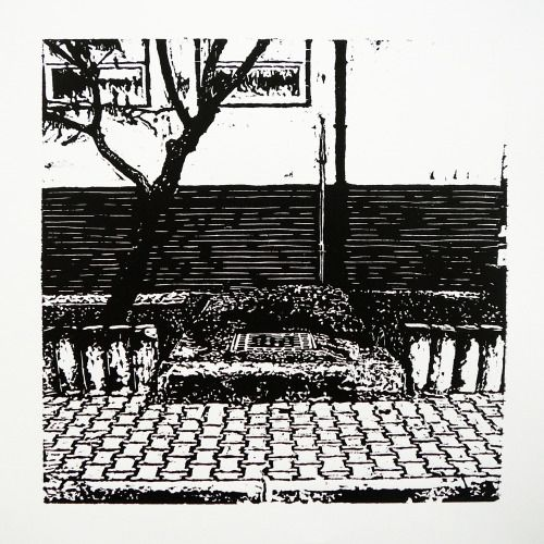 Veľkomoravská 2160-12 [printmaking, cutting into MDF] #printmaking #woodcut #bunker #art #shelters