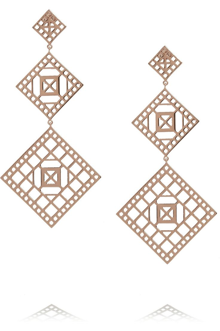 For the minimalist in your life: Arme De L'Amour's graphic rose gold-plated earrings are ideal for those inclined to more clean-lined styles.