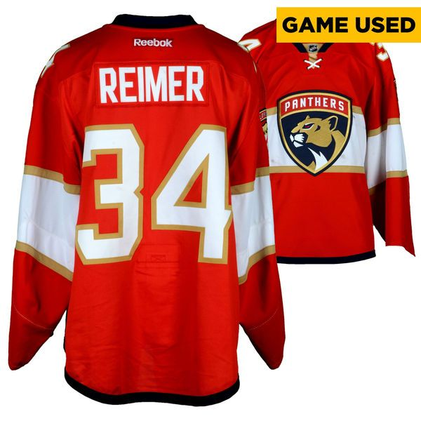 James Reimer Florida Panthers Fanatics Authentic Game-Used #34 Red Set 1 Jersey From The 2016-17 NHL Season - Size 58 - $749.99