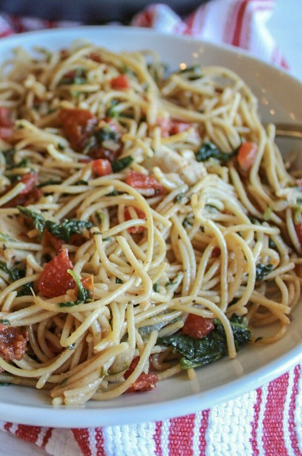 Chicken Spinach Tomato Pasta