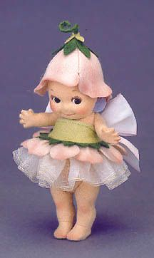 """: """"Fleur"""" Flower Kewpie® Description: 6"""", all felt, fully jointed. Date of Release: 1999 Edition Notes: Made exclusively for UFDC. Ltd. Ed. 250. This is the companion piece to """"Flit"""" Kewpie® Bug."""