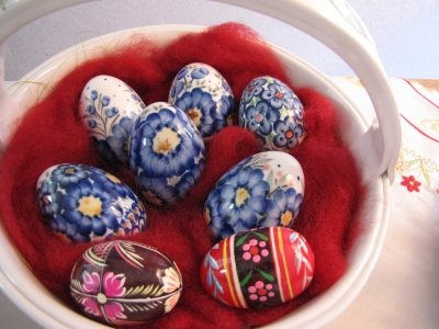 Polish pottery easter eggs.