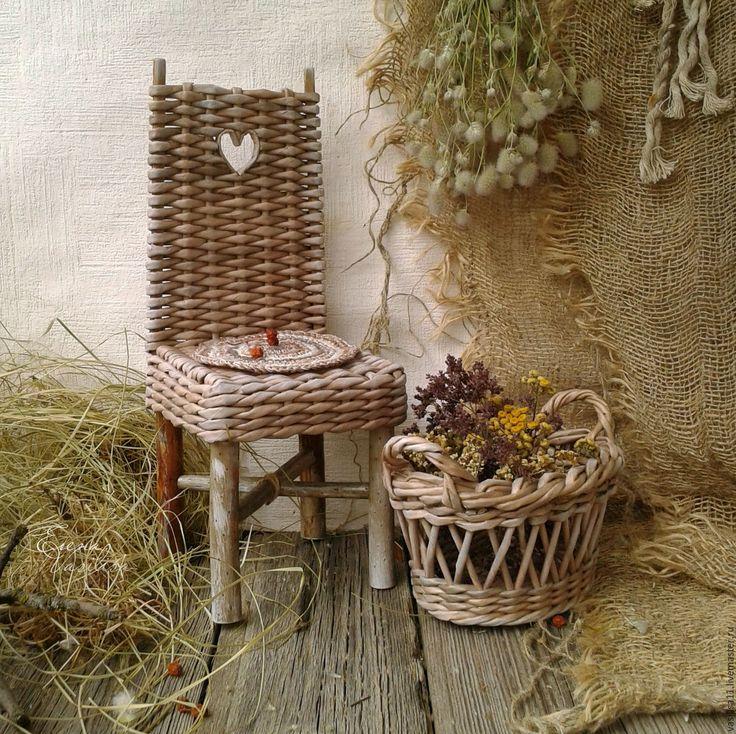 Купить Машино приданое' Плетеный сундучок, стульчик и корзина - плетеный сундучок, для куклы, миниатюра