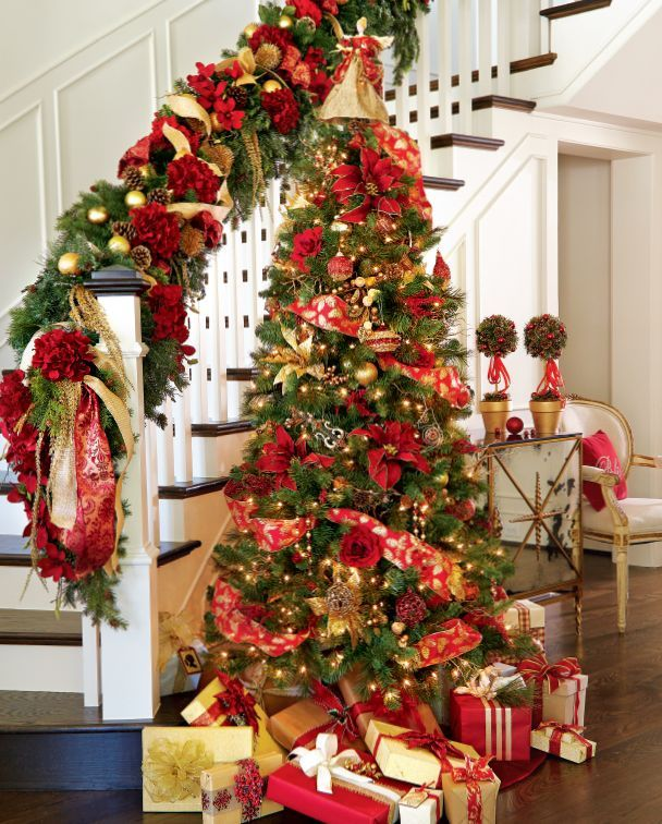 551 best christmas stair decor images on pinterest for Modern gold christmas tree