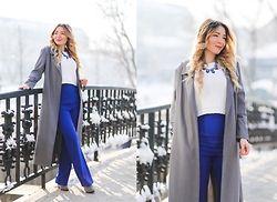 Andreea  Ristea - Yoins High Waisted Blue Pants, Sheinside Grey Long Coat, Choies Grey Boots - High waisted pants