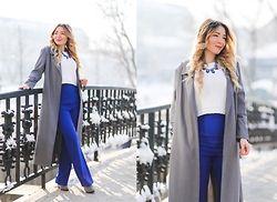 Andreea  Ristea - Yoins High Waisted Blue Pants, Sheinside Grey Long Coat, Choies Grey Boots - High waisted pants