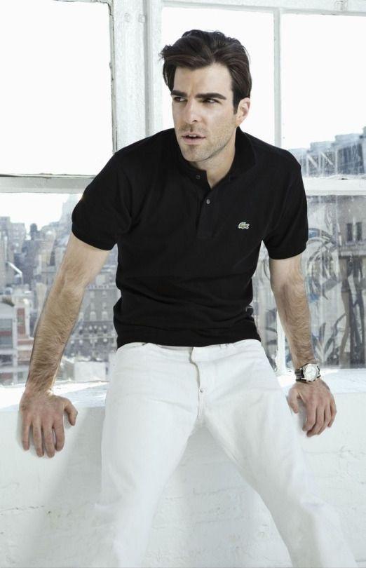 """Lacoste -  Original Pique  Polo """"Black"""" on White Jeans. (Zach Quinto ... edfb90f48f"""