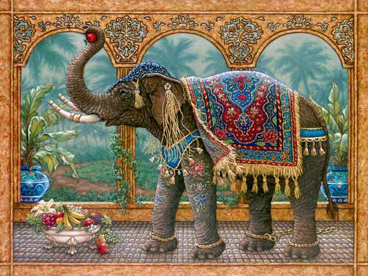 Rajah's Feast, an oil painting of a royal elephant who has broken his golden chain to feast on the fruits and flowers, one of Janet Kruskamp's Original Oil Paintings, ,  by artist Janet Kruskamp