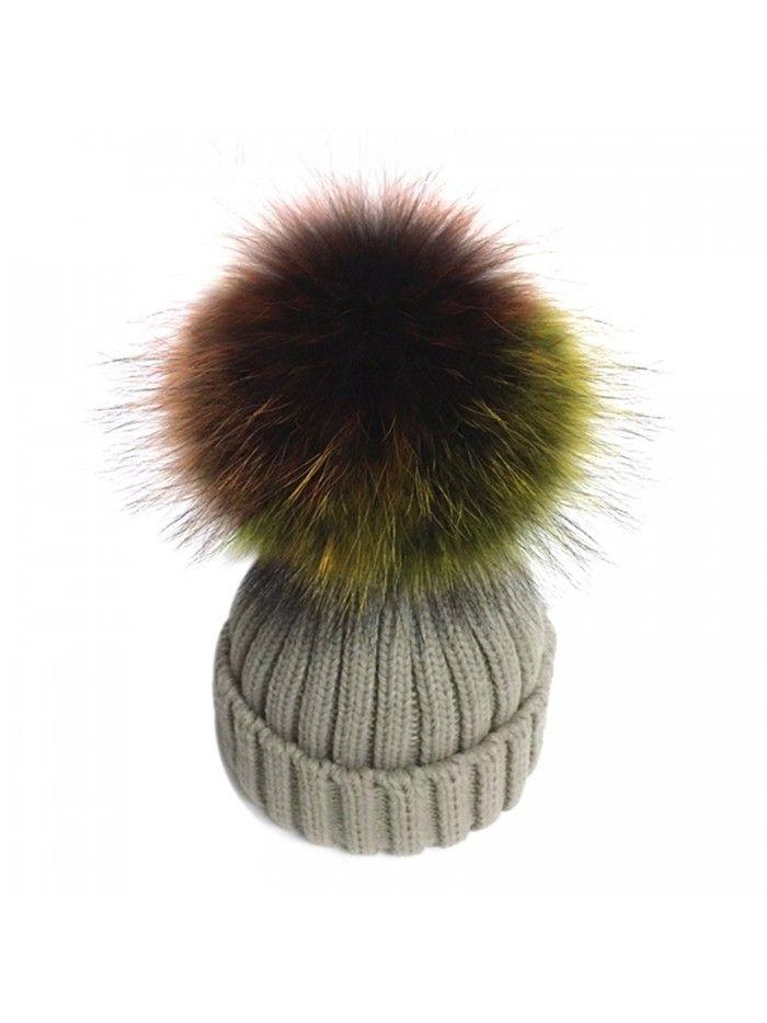 39cc954b802 Women s Detachable Large Multicoloured Real Fur Pompom Beanie Hat - Beige -  C912O3UDJ87 - Hats   Caps