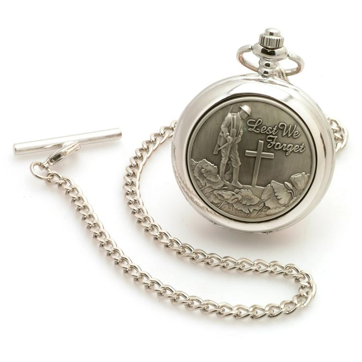 Lest We Forget Pocket Watch. Bearing the moving image of a Tommy beside the grave of his fallen comrade, this impressive pewter pocket watch with quartz movement serves as a dignified way to remember those who have fallen.